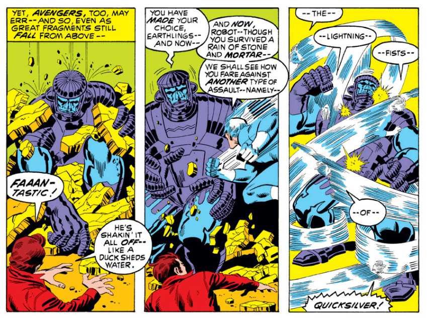 Nice three panel sequence from sal buscema in avengers 90