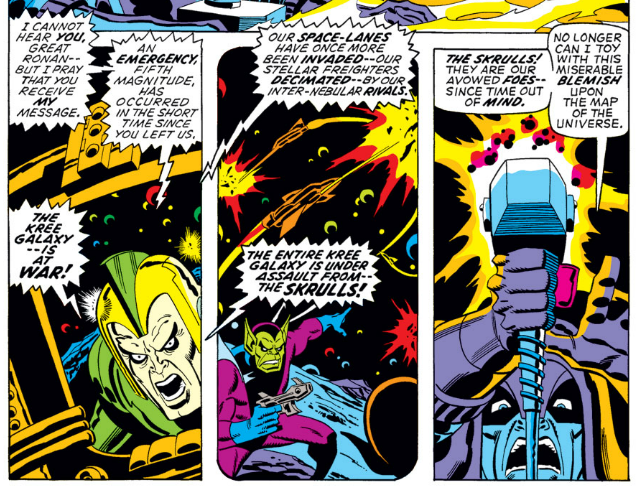 The kree skrull war begins and also rescues the avengers from a tight