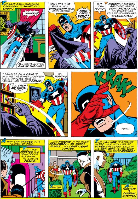 "Captain America witnesses Nixon's ""suicide"" -- issue #175,  by Steve Englehart & Sal Buscema"