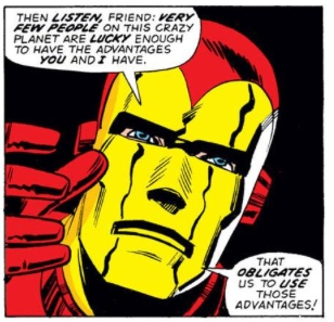 "Iron Man offers advice, by Steve Englehart & Sal Buscema -- note the ""nose"" on Iron Man's mask!"