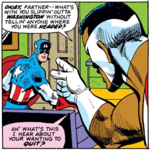 Falcon Confronts Captain America, by Steve Englehart & Sal Buscema
