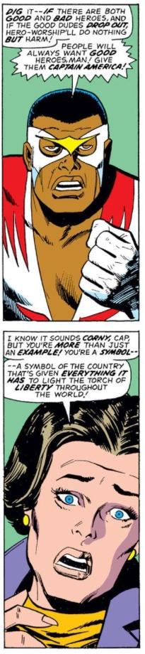 Captain America's friends react to Cap's resignation, by Steve Englehart & Sal Buscema