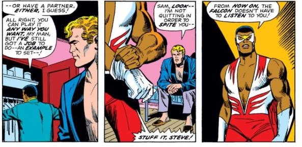 Falcon & Captain America's partnership dissolves, by Steve Englehart & Sal Buscema