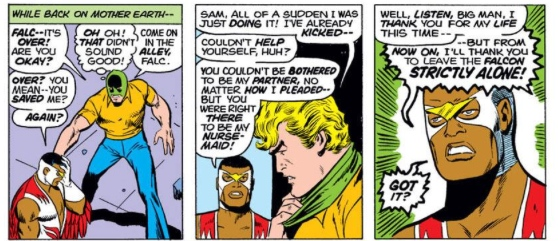 The Falcon tells off Captain America, by Steve Englehart & Sal Buscema