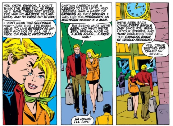 Steve Rogers and Sharon Carter are happy Captain America resigned, by Steve Englehart & Sal Buscema