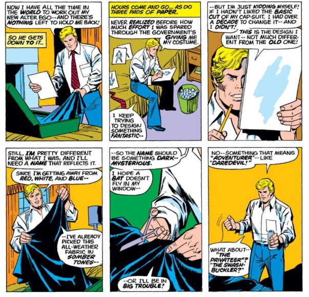 Nomad costume montage, by Steve Englehart & Sal Buscema