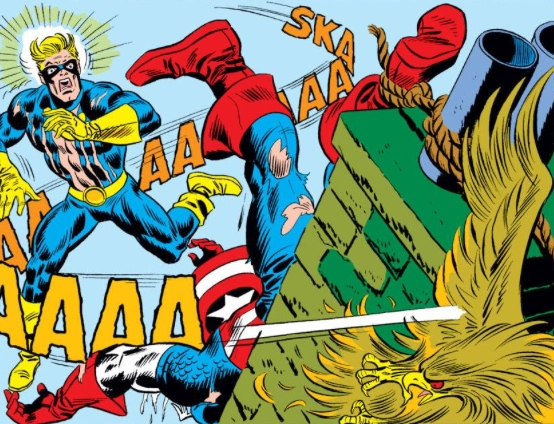 Captain America crucified by Red Skull, by Steve Englehart & Frank Robbins