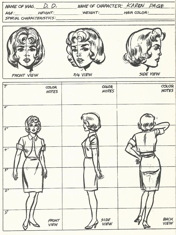 Karen Page character design by Wally Wood