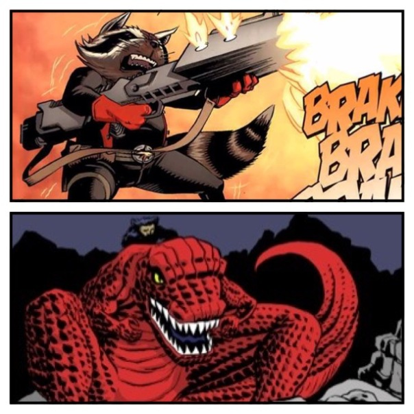 Rocket Raccoon vs. Devil Dinosaur!