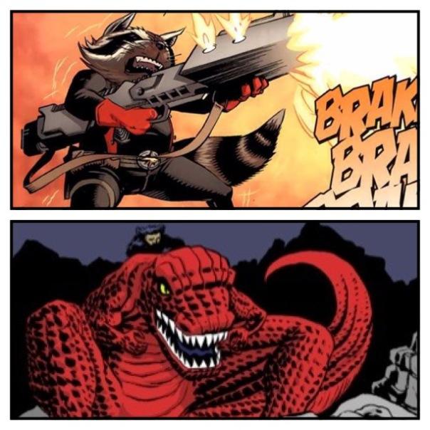 Rocket Raccoon vs. Devil Dinosaur!
