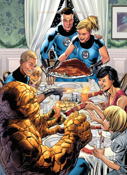 Fantastic Four Thanksgiving by Bryan Hitch