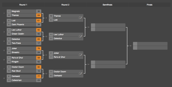 Supervillain Tournament Round 2!