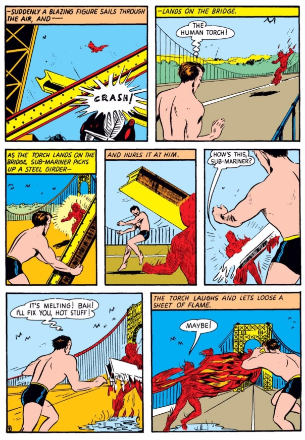 Sub-Mariner vs. Human Torch by Bill Everett, Marvel Mystery Comics #8